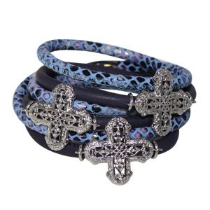 Blue Snake Italian Wrap Leather Bracelet With Rhodium Plated Crosses
