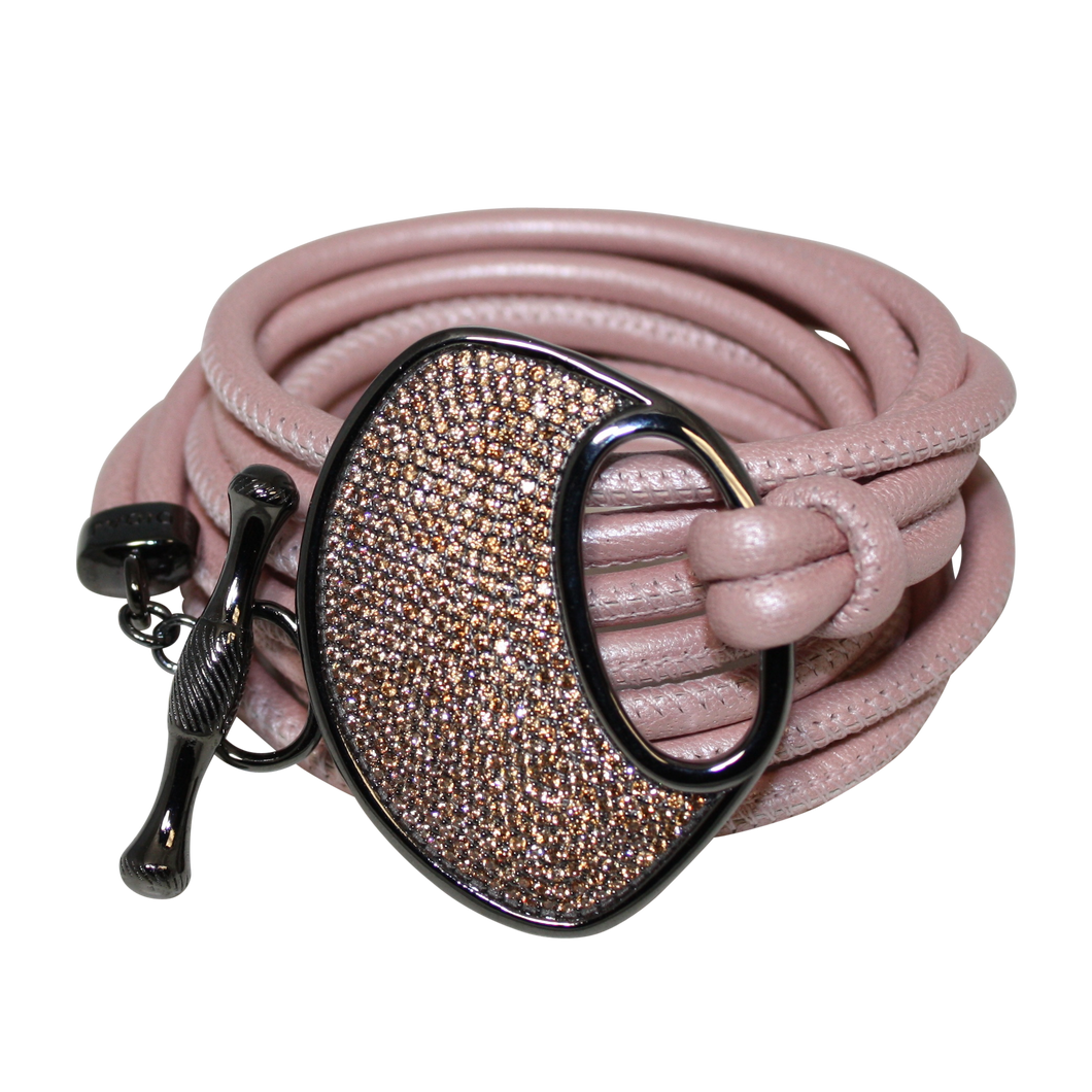 Blush Pearl Pink Italian Wrap Leather Bracelet With CZ Buckle