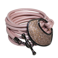 Load image into Gallery viewer, Blush Pearl Pink Italian Wrap Leather Bracelet With CZ Buckle - DIDAJ