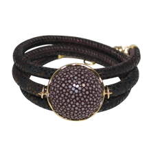 Load image into Gallery viewer, Brown Italian Wrap Leather Bracelet With Chocolate Stingray Connector
