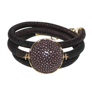 Brown Italian Wrap Leather Bracelet With Chocolate Stingray Connector