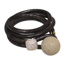 Load image into Gallery viewer, Brown Italian Wrap Leather Bracelet With CZ Slider & Ivory Stingray Sphere