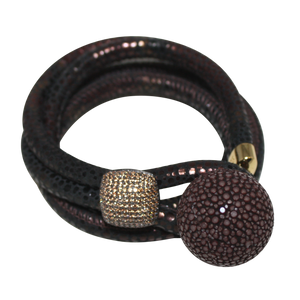 Brown Snake Italian Wrap Leather Bracelet With CZ Slider & Chocolate Stingray Sphere