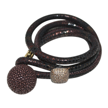 Load image into Gallery viewer, Brown Snake Italian Wrap Leather Bracelet With CZ Slider & Chocolate Stingray Sphere