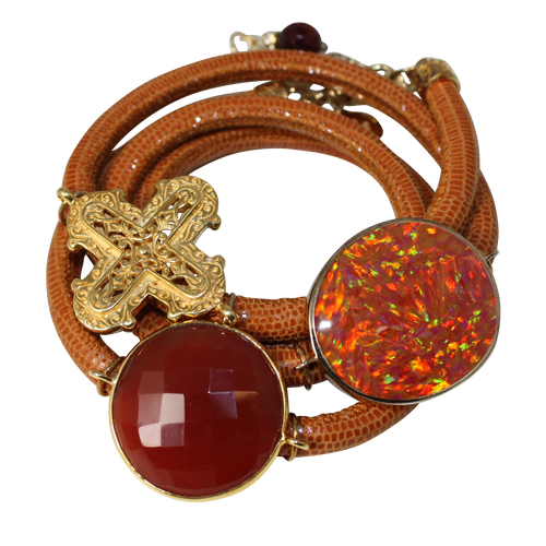 Camel Brown Snake Italian Wrap Leather Bracelet With Faceted Carnelian, Opal, and Cross - DIDAJ