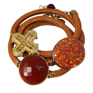 Camel Brown Snake Italian Wrap Leather Bracelet With Faceted Carnelian, Opal, and Cross