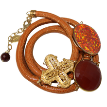Load image into Gallery viewer, Camel Brown Snake Italian Wrap Leather Bracelet With Faceted Carnelian, Opal, and Cross