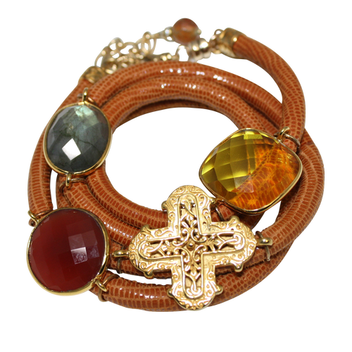Camel Brown Snake Italian Wrap Leather Bracelet With Faceted Labradorite, Carnelian, Citrine Quartz & Cross