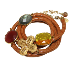 Load image into Gallery viewer, Camel Brown Snake Italian Wrap Leather Bracelet With Labradorite, Carnelian, Citrine Quartz & Cross - DIDAJ