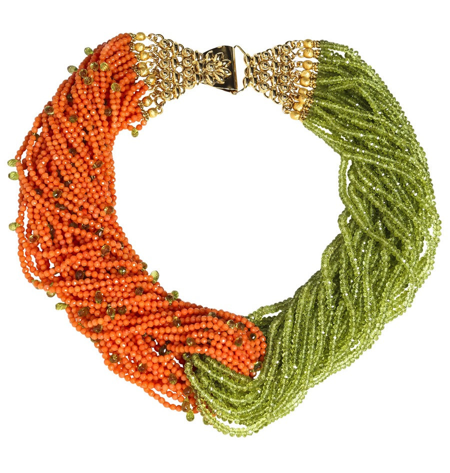 Dual Multi-Strand Faceted Peridot and Orange Coral Necklace