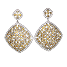 Load image into Gallery viewer, Faceted Citrine Pave Earrings