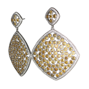 Faceted Citrine Pave Earrings