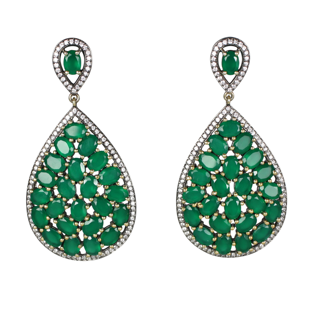 Faceted Green Onyx Pave Earrings - DIDAJ