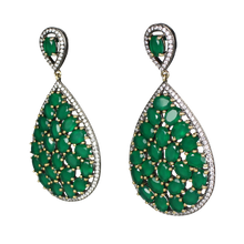 Load image into Gallery viewer, Faceted Green Onyx Pave Earrings - DIDAJ