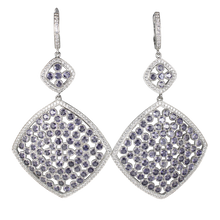 Load image into Gallery viewer, Faceted Iolite Pave Earrings - DIDAJ