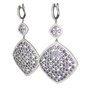 Faceted Iolite Pave Earrings - DIDAJ