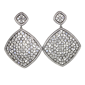 Faceted Moon Stone Pave Earrings - DIDAJ