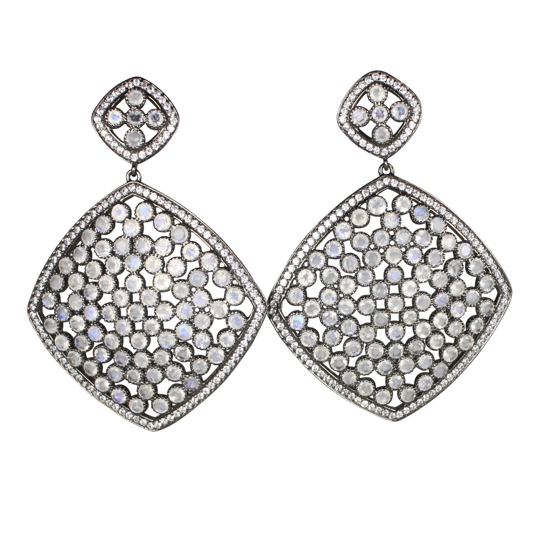 Faceted Moon Stone Pave Earrings