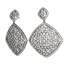 Load image into Gallery viewer, Faceted Moon Stone Pave Earrings