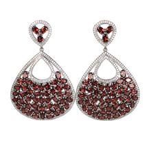 Load image into Gallery viewer, Faceted Rhodolite Garnet and Pave Earrings