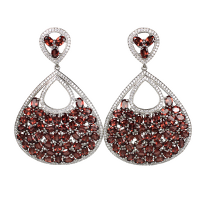 Faceted Rhodolite Garnet and Pave Earrings