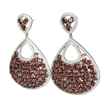 Load image into Gallery viewer, Faceted Rhodolite Garnet and Pave Earrings - DIDAJ