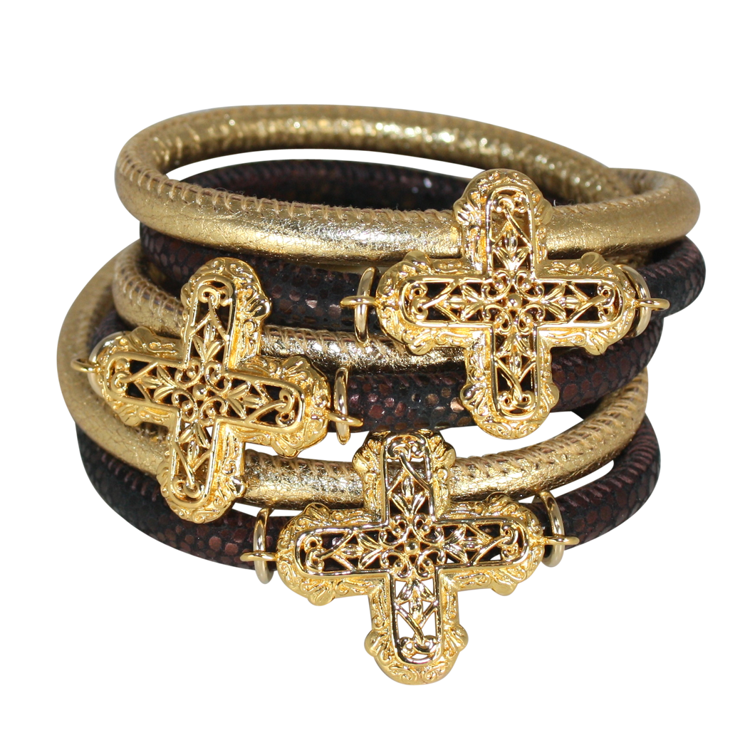 Gold & Brown Snake Italian Wrap Leather Bracelet With Gold Plated Crosses