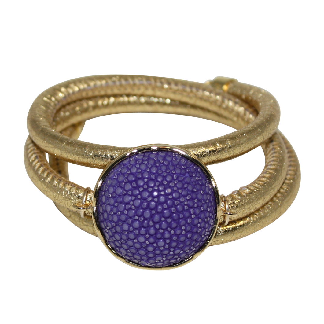 Gold Italian Wrap Leather Bracelet With Purple Stingray Connector - DIDAJ