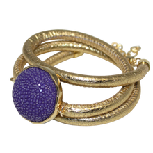 Load image into Gallery viewer, Gold Italian Wrap Leather Bracelet With Purple Stingray Connector - DIDAJ