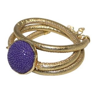Gold Italian Wrap Leather Bracelet With Purple Stingray Connector