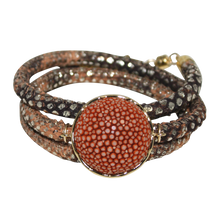 Load image into Gallery viewer, Gold & Terracotta Snake Italian Wrap Leather Bracelet With Copper Stingray Connector