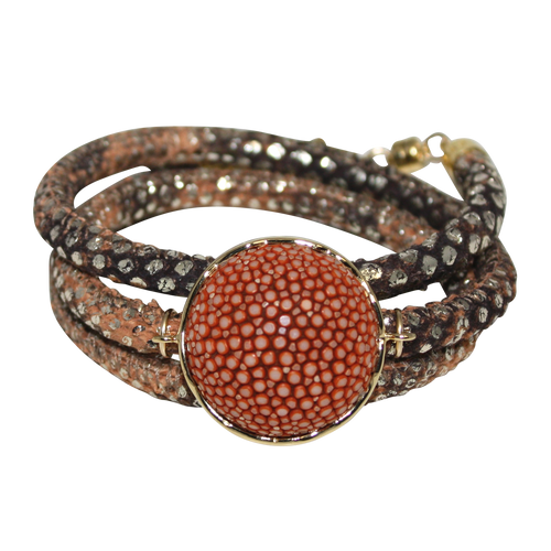Gold & Terracotta Snake Italian Wrap Leather Bracelet With Copper Stingray Connector - DIDAJ