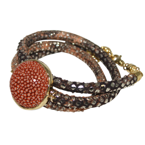 Gold & Terracotta Snake Italian Wrap Leather Bracelet With Copper Stingray Connector