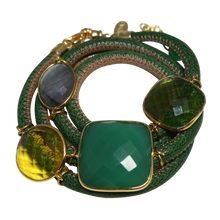 Load image into Gallery viewer, Green & Beige Italian Wrap Leather Bracelet With Faceted Green Onyx, Labradorite, Peridot & Citrine Quartz