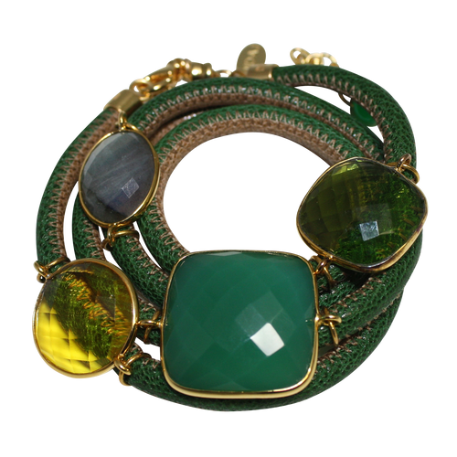 Green & Beige Italian Wrap Leather Bracelet With Green Onyx, Labradorite, Peridot & Citrine Quartz - DIDAJ