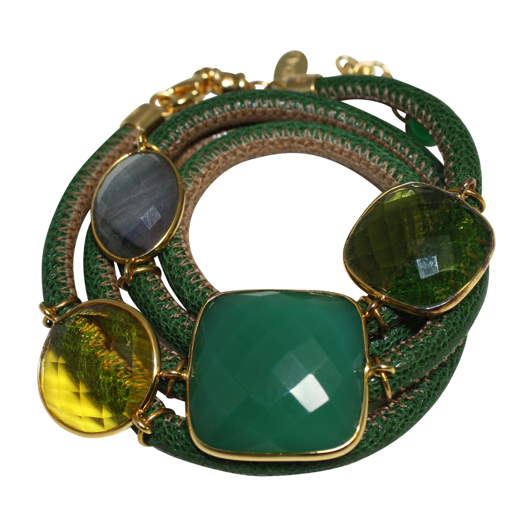 Green & Beige Italian Wrap Leather Bracelet With Faceted Green Onyx, Labradorite, Peridot & Citrine Quartz