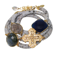 Load image into Gallery viewer, Grey & Beige Snake Italian Wrap Leather Bracelet With Faceted Labradorite, Blue Onyx, Smoky Quartz & Cross