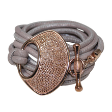 Load image into Gallery viewer, Grey Shimmer Italian Wrap Leather Bracelet With CZ Buckle