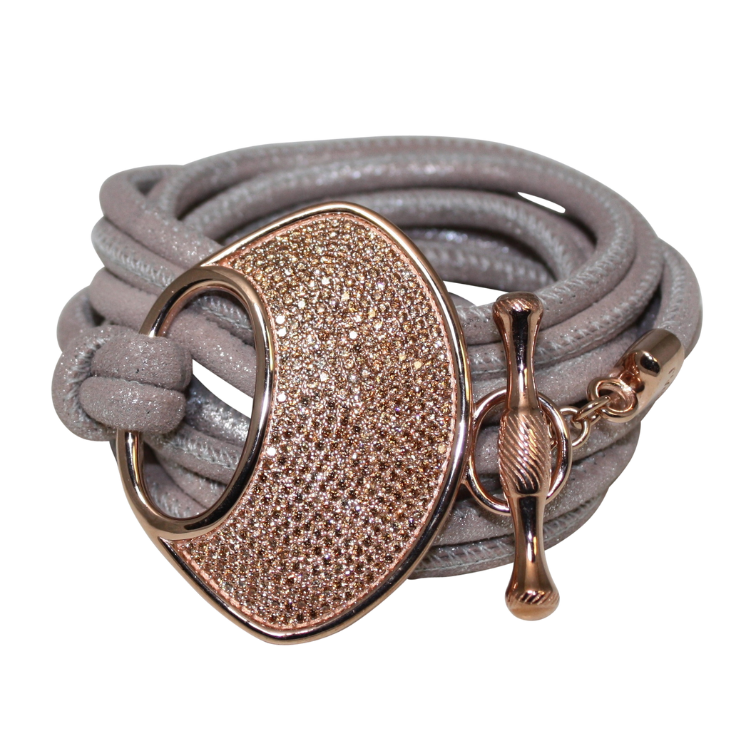 Grey Shimmer Italian Wrap Leather Bracelet With CZ Buckle - DIDAJ