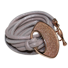 Load image into Gallery viewer, Grey Shimmer Italian Wrap Leather Bracelet With CZ Buckle - DIDAJ
