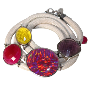 Ivory Italian Wrap Leather Bracelet With Opal, Faceted Chalcedony, Amethyst & Citrine Quartz - DIDAJ