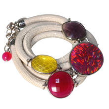 Load image into Gallery viewer, Ivory Italian Wrap Leather Bracelet With Opal, Faceted Chalcedony, Amethyst & Citrine Quartz - DIDAJ