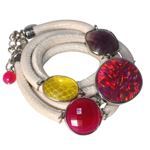 Ivory Italian Wrap Leather Bracelet With Opal, Faceted Chalcedony, Amethyst & Citrine Quartz