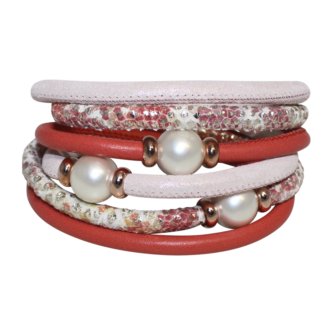 Ivory Pearl & Coral Snake Italian Wrap Leather Bracelet With White Mother of Pearl
