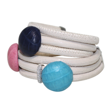 Load image into Gallery viewer, Ivory Snake Italian Wrap Leather Bracelet With Pink, Blue and Turquoise Crocodile - DIDAJ