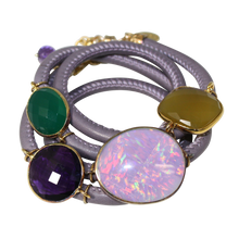 Load image into Gallery viewer, Lavender Grey Italian Wrap Leather Bracelet With Opal, Chalcedony, Green Onyx, & Amethyst Quartz - DIDAJ