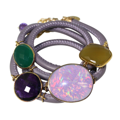 Lavender Grey Italian Wrap Leather Bracelet With Opal, Chalcedony, Green Onyx, & Amethyst Quartz - DIDAJ