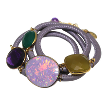 Load image into Gallery viewer, Lavender Grey Italian Wrap Leather Bracelet With Opal, Faceted Chalcedony, Green Onyx, & Amethyst Quartz