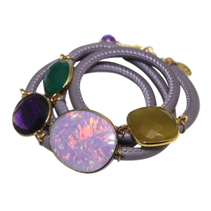 Lavender Grey Italian Wrap Leather Bracelet With Opal, Faceted Chalcedony, Green Onyx, & Amethyst Quartz