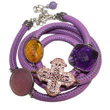 Load image into Gallery viewer, Lavender Italian Wrap Leather Bracelet With Faceted Pink Chalcedony, Amethyst & Citrine Quartz, and Cross